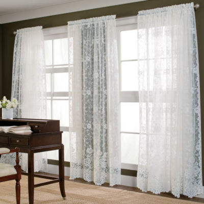 jcpenney home shari lace rodpocket sheer panel - Sheer Curtain Panels