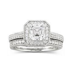 DiamonArt® Sterling Silver 1 7/8 CT. T.W. Cubic Zirconia Bridal Ring Set
