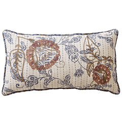 Home Expressions Fairview White Floral Bolster Decorative Pillow