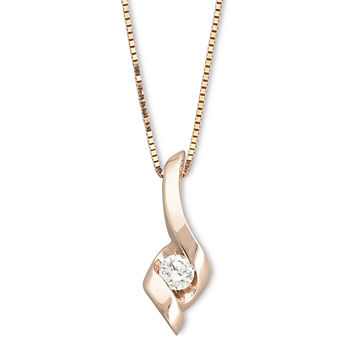 Sirena® 1/10 CT. Diamond 14K Rose Gold Pendant Necklace