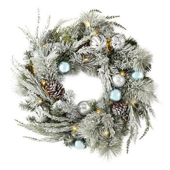 silver and blue pre lit flocked christmas wreath