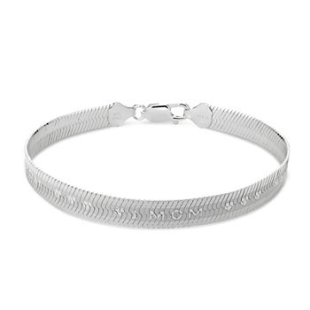 "Made in Italy ""Mom"" Sterling Silver 7.5 Inch Solid Herringbone Chain Bracelet"