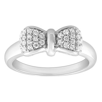 Enchanted Disney Fine Jewelry Womens 1/4 CT. T.W. Genuine White Diamond Sterling Silver Bow Disney Princess Cocktail Ring
