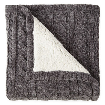 Throws Blankets Throws For Bed Bath JCPenney Mesmerizing Black Chenille Throw Blanket