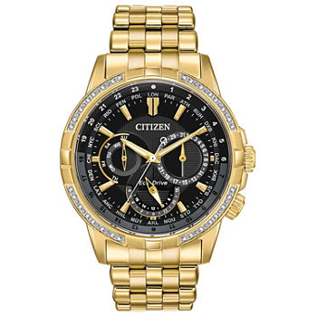 Citizen Calendrier Mens Diamond Accent Gold Tone Stainless Steel Bracelet Watch - Bu2082-56e