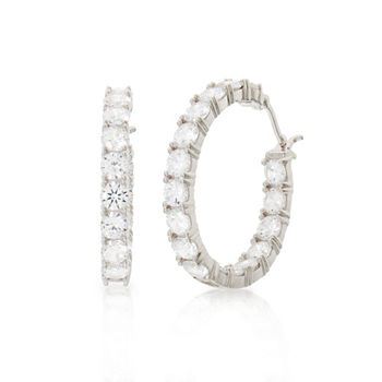 DiamonArt® White Cubic Zirconia Sterling Silver 32.6mm Hoop Earrings
