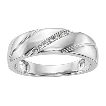 5.5MM Diamond Accent Genuine White Diamond 14K White Gold Wedding Band