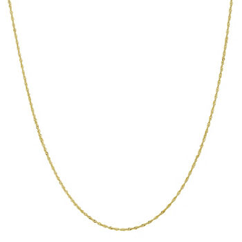 "10K Gold 14-24"" Solid Singapore Chain Necklace"