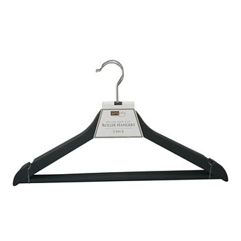 3 Pack Rubberized Wood-Like Roller Hanger