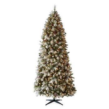 9 foot geneva pre lit flocked pre decorated christmas tree - Pre Lit Decorated Christmas Trees