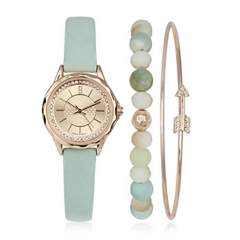 Mixit Womens Blue 3-pc. Watch Boxed Set-Pt6158rg
