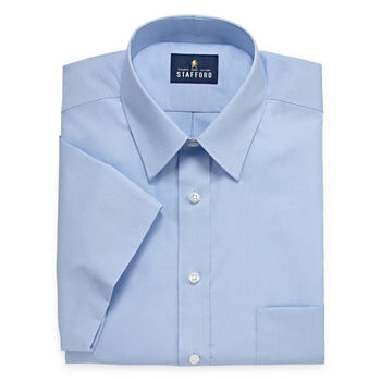 Stafford Mens Short Sleeve Travel Easy-Care Broadcloth Stretch Dress Shirt