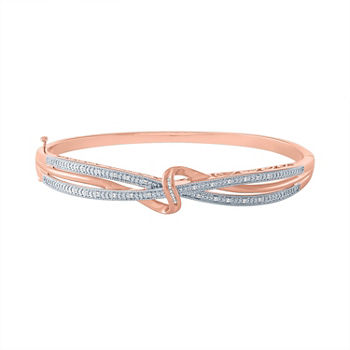 1/10 CT. T.W. Genuine Diamond 14K Rose Gold Over Silver Bangle Bracelet