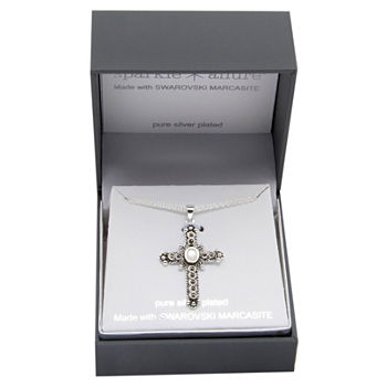 Sparkle Allure Marcasite Pure Silver Over Brass 18 Inch Cable Cross Pendant Necklace