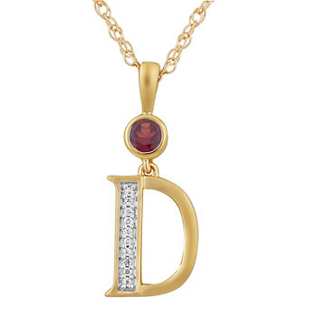 D Womens Genuine Red Garnet 14K Gold Over Silver Pendant Necklace