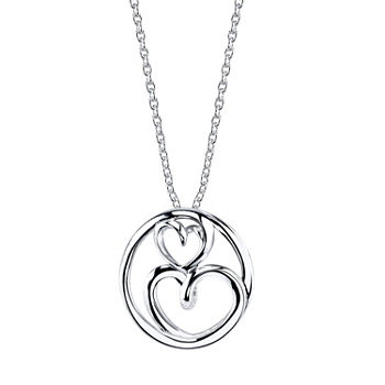 Footnotes Mother and Daughter Cubic Zirconia Sterling Silver 18 Inch Cable Heart Pendant Necklace