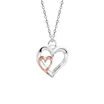 Footnotes Sisters Sterling Silver 18 Inch Cable Heart Pendant Necklace