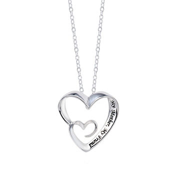 Footnotes Mother and Daughter Sterling Silver 18 Inch Cable Heart Pendant Necklace
