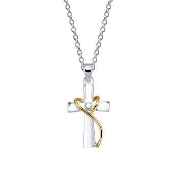 Footnotes Faith Cubic Zirconia Sterling Silver 18 Inch Cable Cross Pendant Necklace