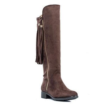 9135ddb48aa GC Shoes Womens Marlo Over the Knee Wide Calf Flat Heel Zip Boots
