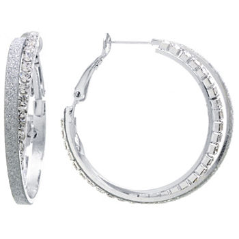Sparkle Allure Crystal Clear Pure Silver Over Brass 36mm Round Hoop Earrings