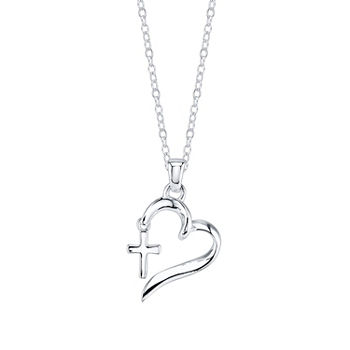 Footnotes Faith Sterling Silver Heart Pendant Necklace