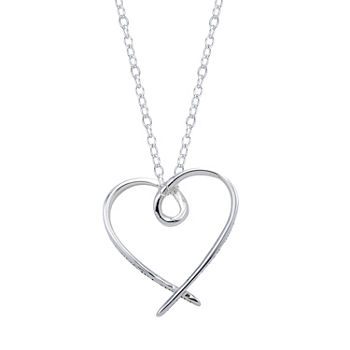 Footnotes Friend Sterling Silver 18 Inch Cable Heart Pendant Necklace