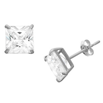 DiamonArt® 1 1/2 CT. T.W. White Cubic Zirconia Sterling Silver Square Stud Earrings