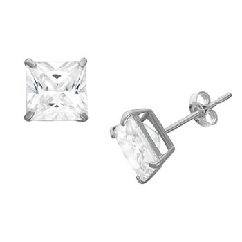 DiamonArt® 1 1/4 CT. T.W. White Cubic Zirconia Sterling Silver Square Stud Earrings