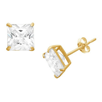 DiamonArt® 1 1/4 CT. T.W. White Cubic Zirconia 10K Gold Over Silver Square Stud Earrings