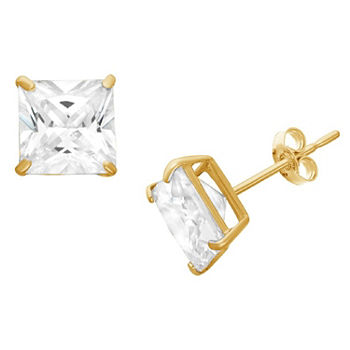 DiamonArt® 1 1/2 CT. T.W. White Cubic Zirconia 10K Gold Over Silver Square Stud Earrings