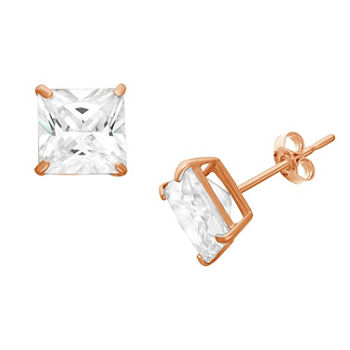 DiamonArt® 3/4 CT. T.W. White Cubic Zirconia 10K Rose Gold Over Silver Square Stud Earrings