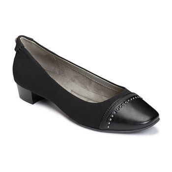 c1dd3a3175d9 A2 by Aerosoles Womens Monogram Closed Toe Stacked Heel Slip-on Pumps. Add  To Cart. Natural Combo. Blk Combo.  56