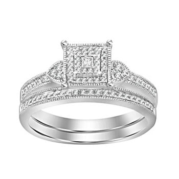 Womens 1/5 CT. T.W. Genuine White Diamond 10K White Gold Bridal Set