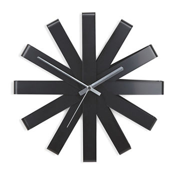 Umbra Ribbon Walnut Clock 12in Black Wall Clock
