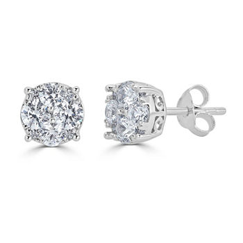 1/2 CT. T.W. Genuine White Diamond Sterling Silver 5.5mm Stud Earrings