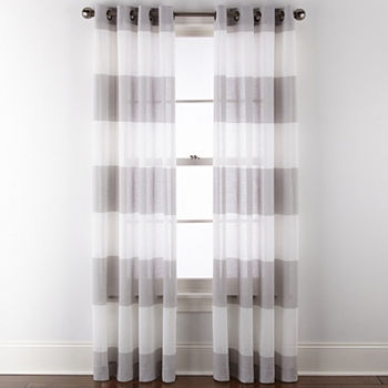 JCPenney Home Metallic Stripe Sheer Grommet-Top Single Curtain Panel