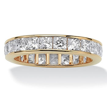 DiamonArt® 4MM 5 1/4 CT. T.W. White Cubic Zirconia 18K Gold Over Silver Square Band