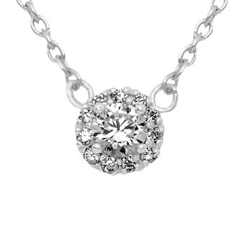 Itsy Bitsy Clear Cubic Zirconia Sterling Silver Pendant Necklace