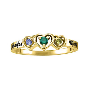 Womens Simulated Multi Color Stone 10K Gold Heart 3-Stone Cocktail Ring