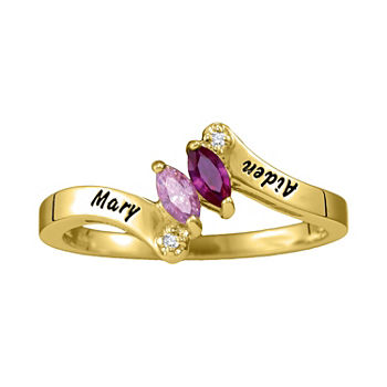 Womens Simulated Multi Color Stone 10K Gold Bypass  Cocktail Ring