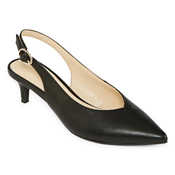 Liz Claiborne Womens Quebec Buckle Pointed Toe Kitten  Heel Pumps