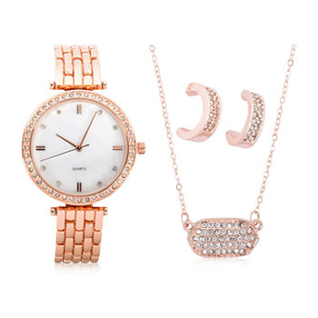 Mixit Sets Womens Rose Goldtone 4-pc. Watch Boxed Set-Wac7199jc