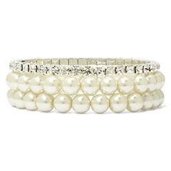 Vieste Silver-Tone Pearlized Glass Bead 3-pc. Stretch Bracelet