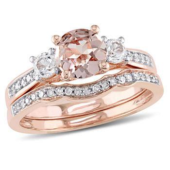 Genuine Morganite & 1/7 CT. T.W. Diamond 10K Rose Gold Bridal Set