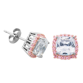 DiamonArt® Lab Created White Cubic Zirconia 14K Rose Gold Over Silver Sterling Silver 9.4mm Phineas and Ferb Stud Earrings