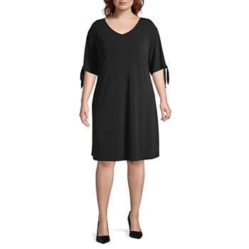Worthington Short Sleeve A-Line Dress-Plus