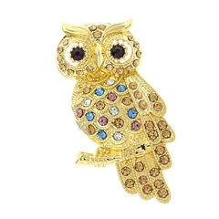 Monet® Multicolor Stone Owl Pin