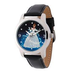 Disney Cinderella Womens Black Strap Watch-W002153
