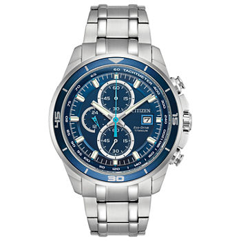 Citizen Brycen Mens Chronograph Silver Tone Bracelet Watch - Ca0349-51l